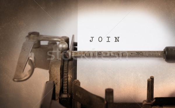ストックフォト: ヴィンテージ · 碑文 · 古い · タイプライター · 紙 · 技術