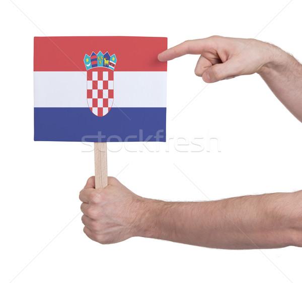 Mão pequeno cartão bandeira Croácia Foto stock © michaklootwijk