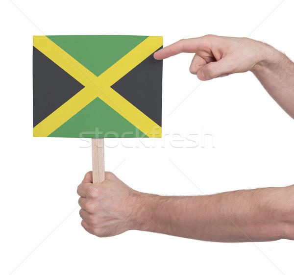 Kéz tart kicsi kártya zászló Jamaica Stock fotó © michaklootwijk