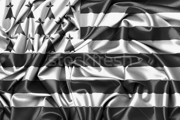 Foto stock: Cetim · bandeira · grande · textura · vento