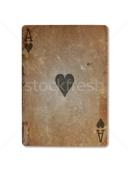 Very old playing card, ace of hearts Stock photo © michaklootwijk