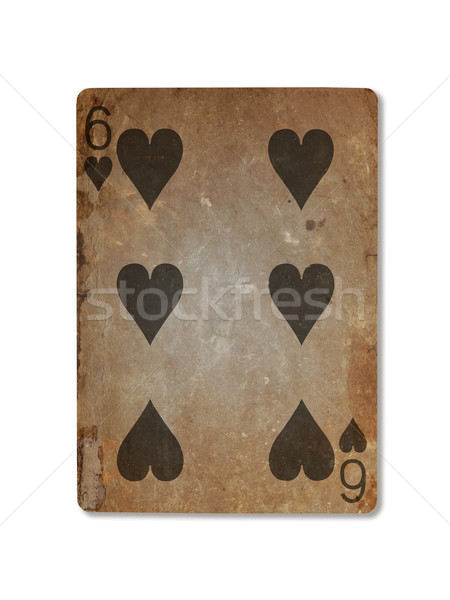 Very old playing card, six of hearts Stock photo © michaklootwijk