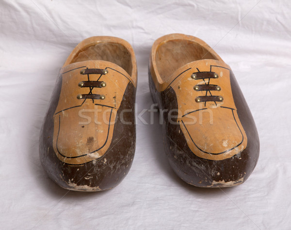 Pair of traditional Dutch wooden shoes Stock photo © michaklootwijk