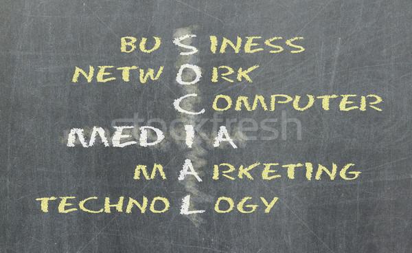 Stock photo: Social media concept crosswords on blackboard
