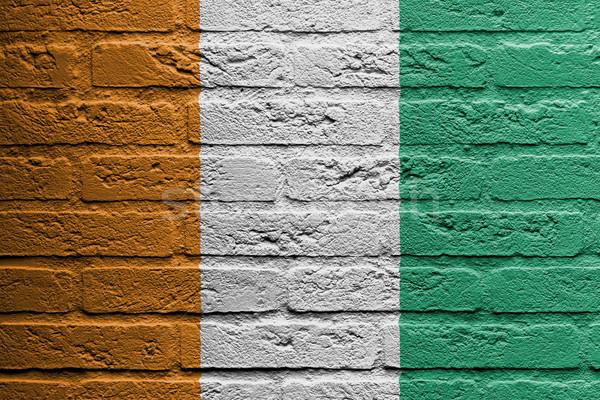 Téglafal festmény zászló Elefántcsontpart izolált építkezés Stock fotó © michaklootwijk