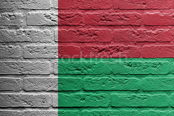 Brick wall with a painting of a flag, Madagascar Stock photo © michaklootwijk