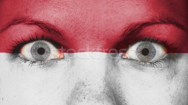 Oczy banderą malowany twarz Indonezja Zdjęcia stock © michaklootwijk