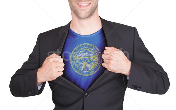 Сток-фото: бизнесмен · открытие · костюм · рубашку · флаг · США
