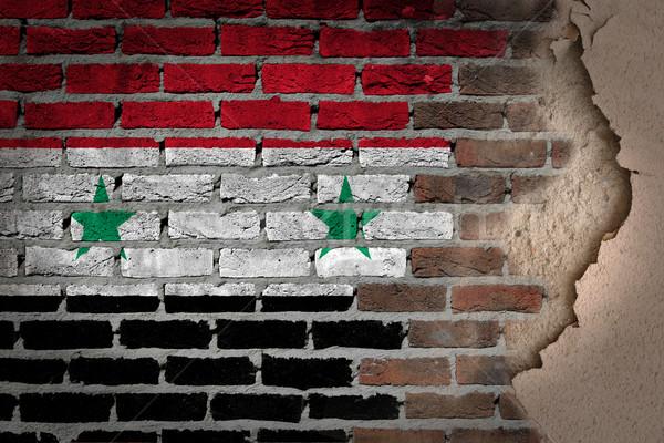 暗い レンガの壁 石膏 シリア テクスチャ フラグ ストックフォト © michaklootwijk