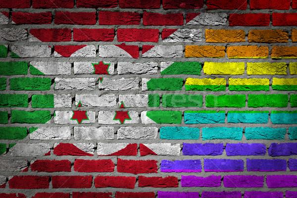 Escuro parede de tijolos direitos Burundi textura bandeira Foto stock © michaklootwijk