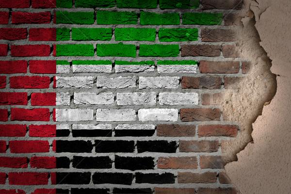 Ciemne murem gipsu Emiraty Arabskie tekstury banderą Zdjęcia stock © michaklootwijk