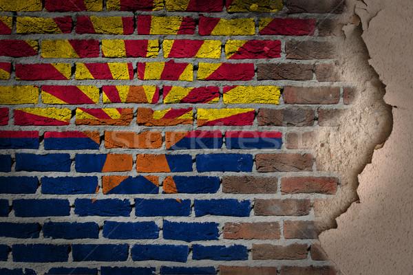 Sötét téglafal tapasz Arizona textúra zászló Stock fotó © michaklootwijk
