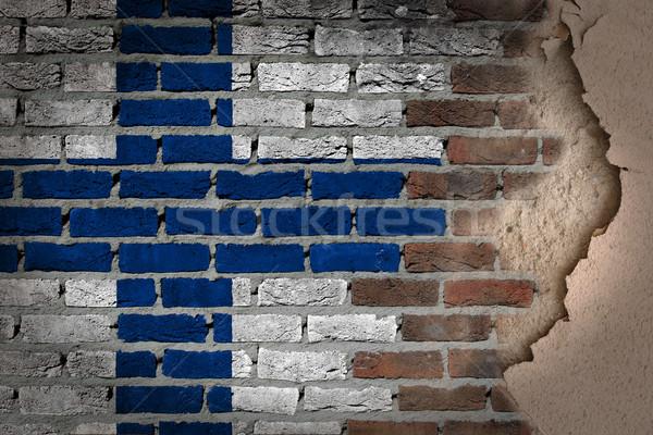 Dark brick wall with plaster - Finland Stock photo © michaklootwijk