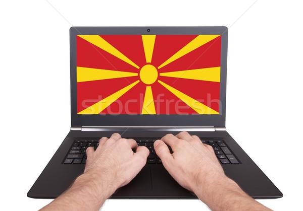рук рабочих ноутбука Македонии экране Сток-фото © michaklootwijk