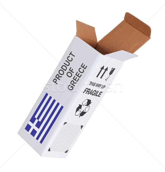 Export termék Görögország kinyitott papír doboz Stock fotó © michaklootwijk