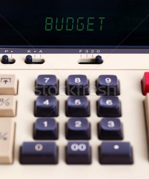 öreg számológép költségvetést készít mutat szöveg kirakat Stock fotó © michaklootwijk