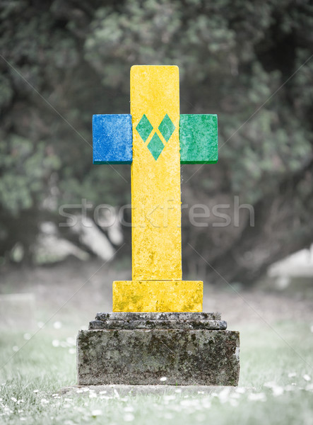 墓石 墓地 古い 風化した 草 ストックフォト © michaklootwijk