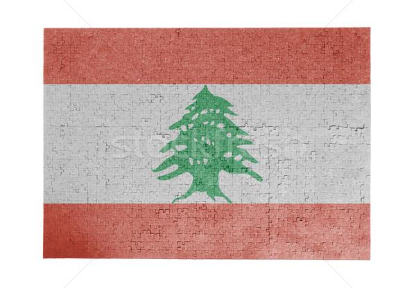 Nagy kirakós játék 1000 darabok Libanon zászló Stock fotó © michaklootwijk