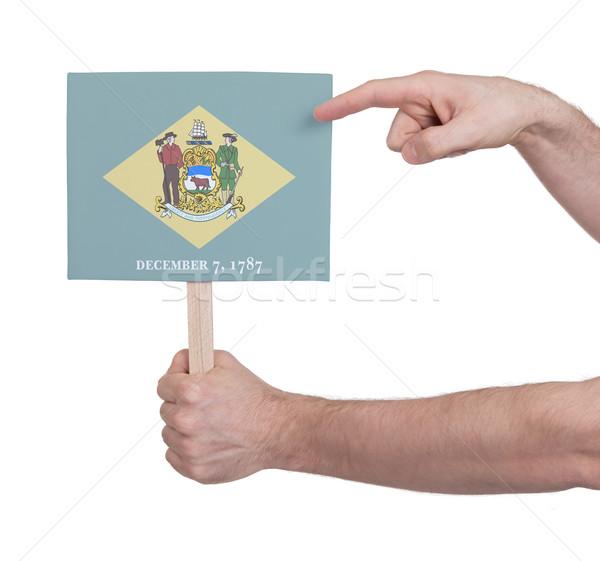 Mão pequeno cartão bandeira Delaware Foto stock © michaklootwijk