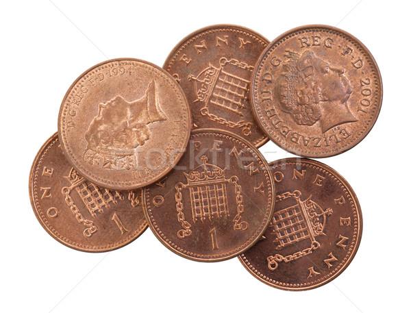 пенни монетами изолированный избирательный подход белый наличных Сток-фото © michaklootwijk