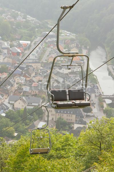 Ski lift stoel stad huis bos Stockfoto © michaklootwijk