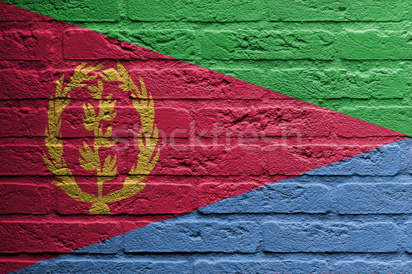 кирпичная стена Живопись флаг Эритрея изолированный пространстве Сток-фото © michaklootwijk