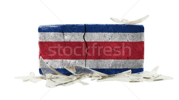 Stockfoto: Baksteen · gebroken · glas · geweld · vlag · Costa · Rica · bouw