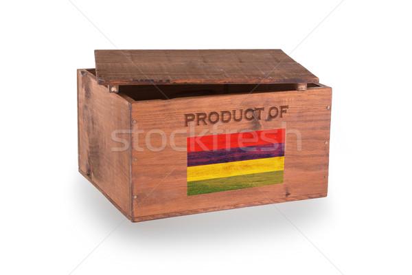 Stock fotó: Fából · készült · láda · izolált · fehér · termék · Mauritius
