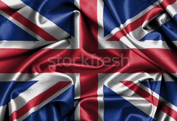 Satijn vlag geven Verenigd Koninkrijk textuur Stockfoto © michaklootwijk