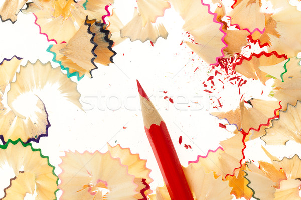 Red pencil and wood shavings Stock photo © michaklootwijk