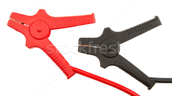 Stock photo: Car battery jumper cables