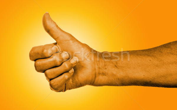 Old woman with arthritis giving the thumbs up sign Stock photo © michaklootwijk