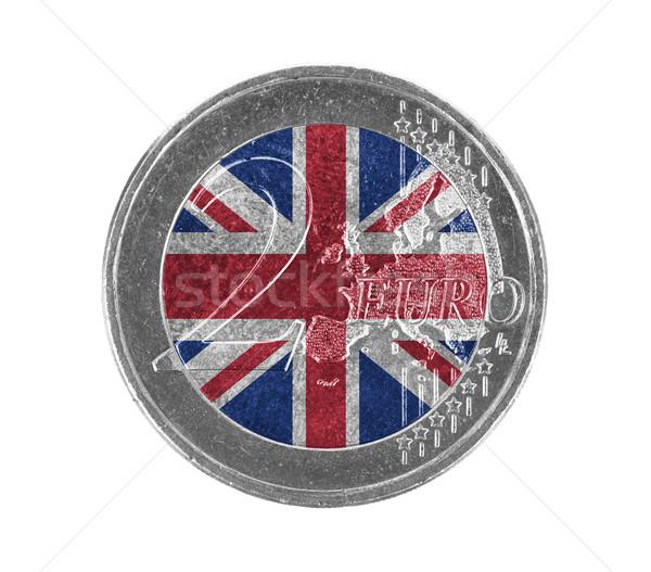 Euro munt geïsoleerd witte vlag Verenigd Koninkrijk Stockfoto © michaklootwijk