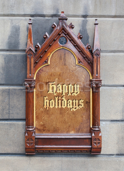 Decorative wooden sign - Happy holidays Stock photo © michaklootwijk