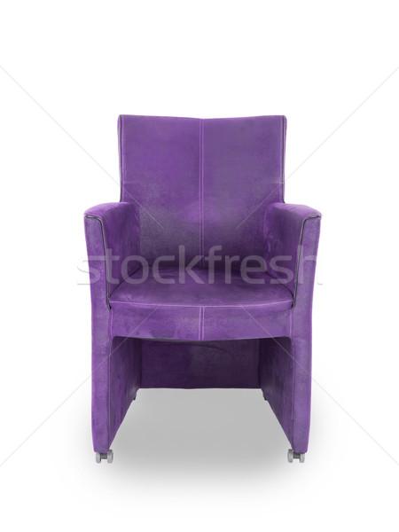 Lila bőr ebédlő szék izolált fehér Stock fotó © michaklootwijk