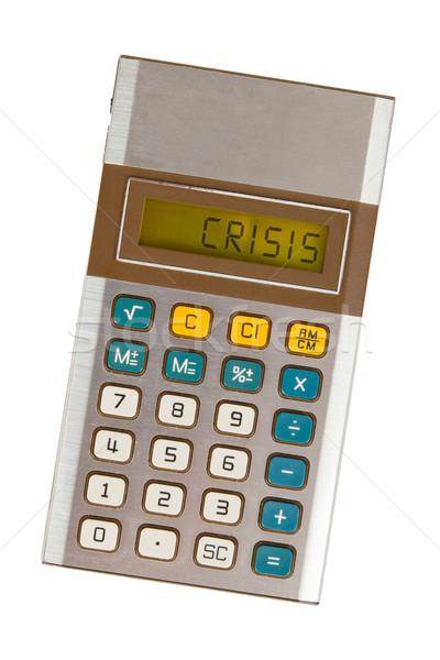 Stock fotó: öreg · számológép · válság · mutat · szöveg · kirakat