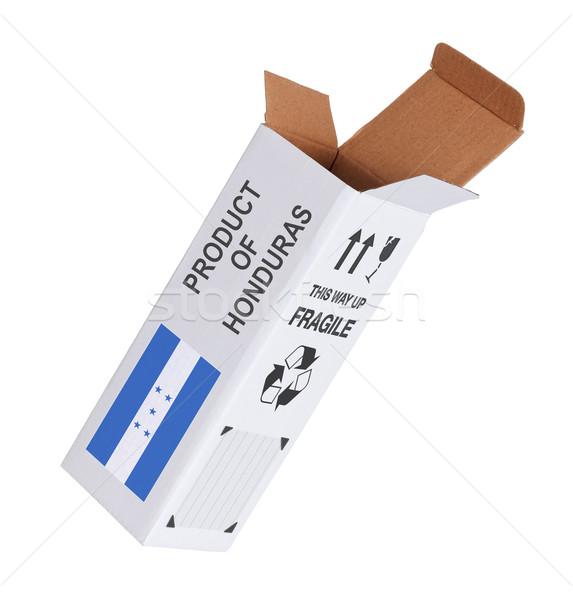 Export termék Honduras kinyitott papír doboz Stock fotó © michaklootwijk