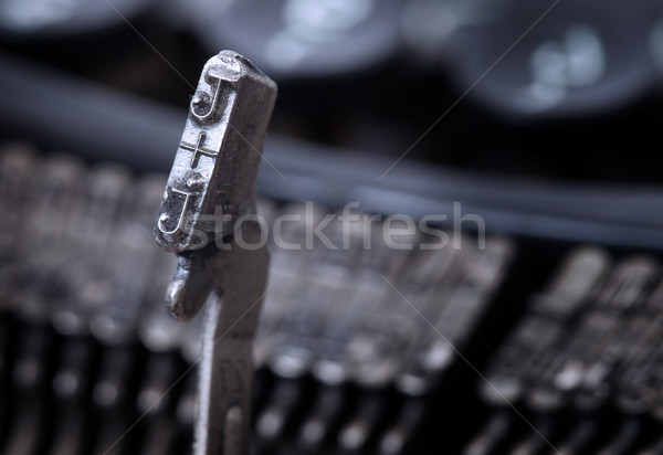 J hammer - old manual typewriter - cold blue filter Stock photo © michaklootwijk