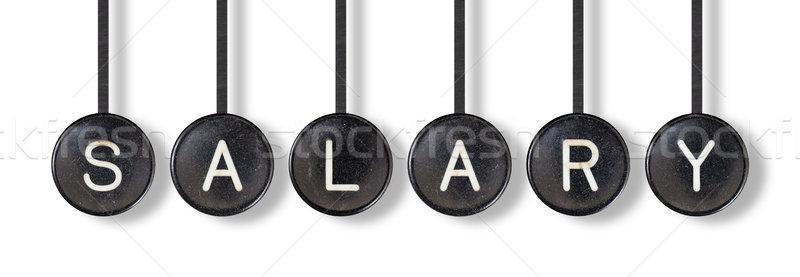 Máquina de escribir botones aislado salario blanco oficina Foto stock © michaklootwijk