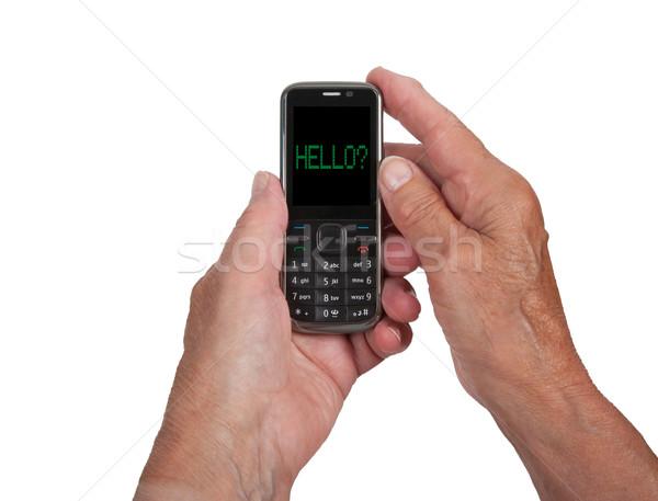 Mains supérieurs femme téléphone portable Bonjour téléphone Photo stock © michaklootwijk