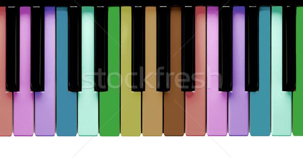Szivárvány zongora billentyűk izolált fehér kulcs játék Stock fotó © michaklootwijk