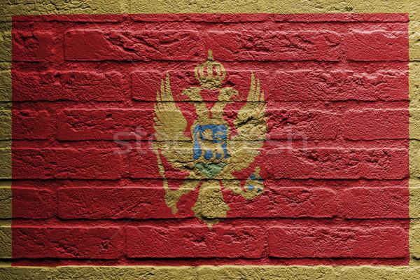 Сток-фото: кирпичная · стена · Живопись · флаг · Черногория · изолированный · краской