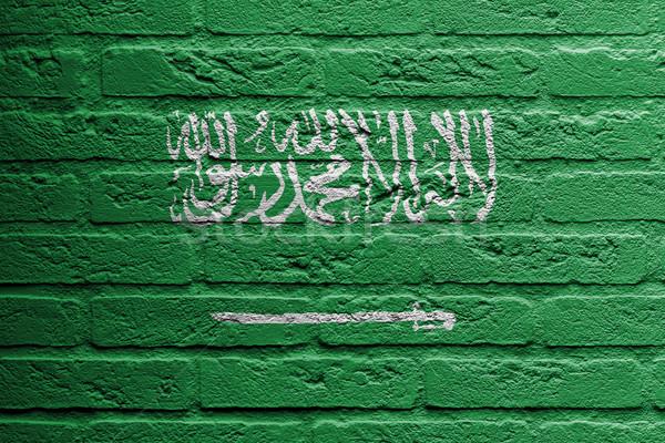 Tuğla duvar boyama bayrak Suudi Arabistan yalıtılmış Bina Stok fotoğraf © michaklootwijk