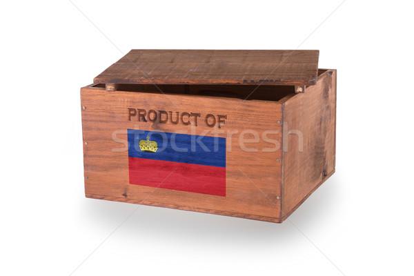 Stock fotó: Fából · készült · láda · izolált · fehér · termék · Liechtenstein