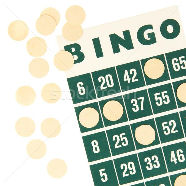 Groene bingo kaart geïsoleerd witte kleur Stockfoto © michaklootwijk