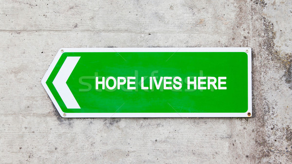 Green sign - Hope lives here Stock photo © michaklootwijk