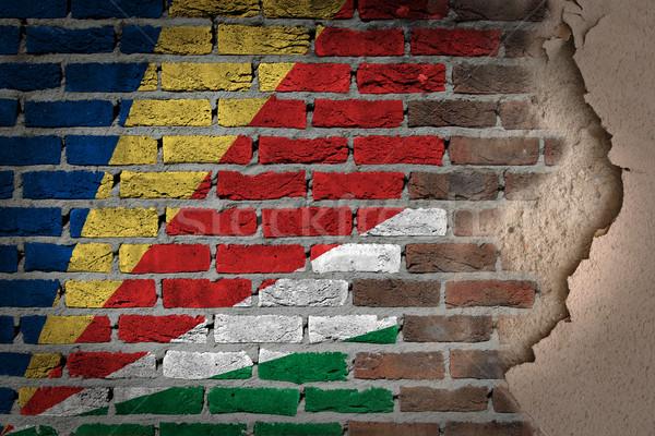 Buio muro di mattoni intonaco Seychelles texture bandiera Foto d'archivio © michaklootwijk