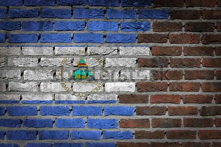 Sötét téglafal jogok textúra zászló szivárvány Stock fotó © michaklootwijk