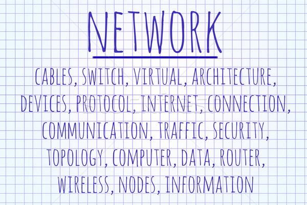 Hálózat szófelhő írott darab papír internet Stock fotó © michaklootwijk