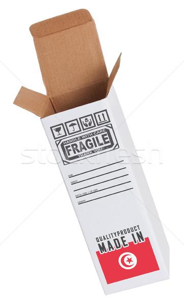 Export termék Tunézia kinyitott papír doboz Stock fotó © michaklootwijk